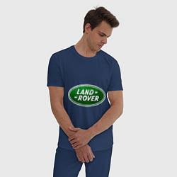 Пижама хлопковая мужская Logo Land Rover цвета тёмно-синий — фото 2