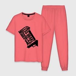 Пижама хлопковая мужская More 2Pac цвета коралловый — фото 1