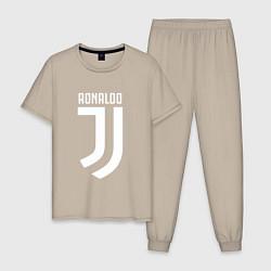 Пижама хлопковая мужская Ronaldo CR7 цвета миндальный — фото 1