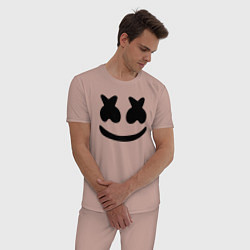 Пижама хлопковая мужская Marshmello цвета пыльно-розовый — фото 2