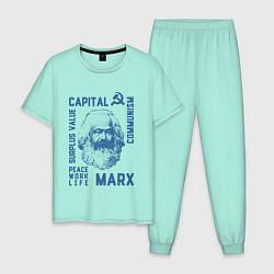 Пижама хлопковая мужская Marx: Capital цвета мятный — фото 1