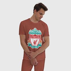 Пижама хлопковая мужская Liverpool FC цвета кирпичный — фото 2