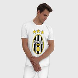 Пижама хлопковая мужская Ювентус цвета белый — фото 2