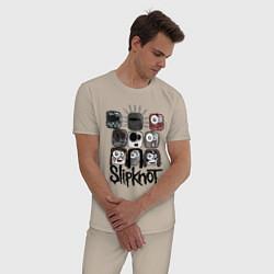 Пижама хлопковая мужская Slipknot Masks цвета миндальный — фото 2