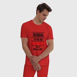 Пижама хлопковая мужская Born to be an ARMY BTS цвета красный — фото 2