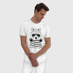 Пижама хлопковая мужская Hands Up цвета белый — фото 2