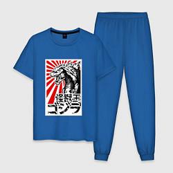 Пижама хлопковая мужская Godzilla Poster цвета синий — фото 1