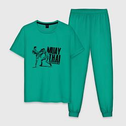 Пижама хлопковая мужская Muay Thai Thaiboxen цвета зеленый — фото 1