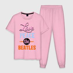 Пижама хлопковая мужская Love peace the Beatles цвета светло-розовый — фото 1
