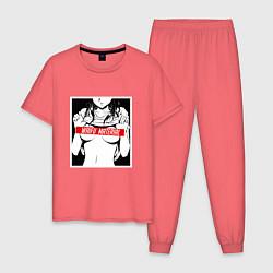 Пижама хлопковая мужская Waifu Material цвета коралловый — фото 1