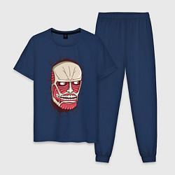 Пижама хлопковая мужская Colossal Titan цвета тёмно-синий — фото 1