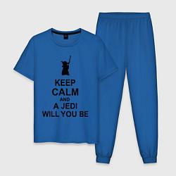 Пижама хлопковая мужская Keep Calm & A Jedi Will You Be цвета синий — фото 1