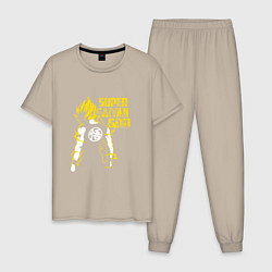 Пижама хлопковая мужская Super Saiyan God: Yellow цвета миндальный — фото 1