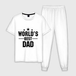 Пижама хлопковая мужская Worlds best DADDY цвета белый — фото 1
