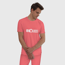Пижама хлопковая мужская I love RAW цвета коралловый — фото 2