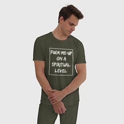 Пижама хлопковая мужская Ghostemane 4 цвета меланж-хаки — фото 2