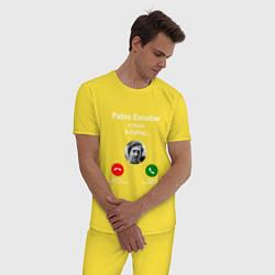 Пижама хлопковая мужская Escobar is calling цвета желтый — фото 2