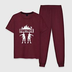 Пижама хлопковая мужская Fortnite: Floss a Boss цвета меланж-бордовый — фото 1