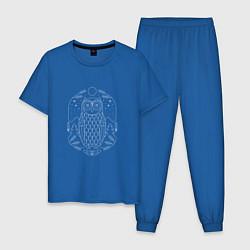 Пижама хлопковая мужская Космическая сова цвета синий — фото 1