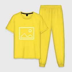 Пижама хлопковая мужская Ярлык картинки цвета желтый — фото 1