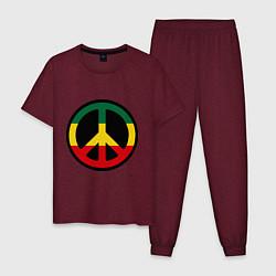 Пижама хлопковая мужская Peace Symbol цвета меланж-бордовый — фото 1