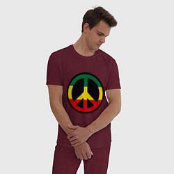 Пижама хлопковая мужская Peace Symbol цвета меланж-бордовый — фото 2