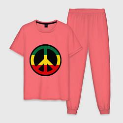 Пижама хлопковая мужская Peace Symbol цвета коралловый — фото 1