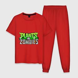 Пижама хлопковая мужская Plants vs zombies цвета красный — фото 1