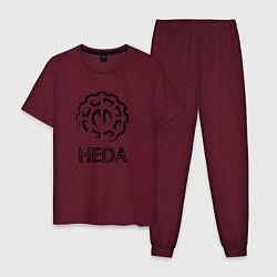 Пижама хлопковая мужская Heda цвета меланж-бордовый — фото 1