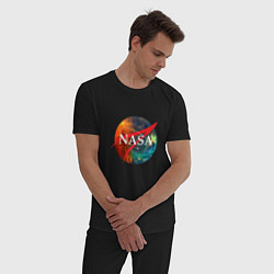 Пижама хлопковая мужская NASA: Nebula цвета черный — фото 2