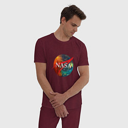 Пижама хлопковая мужская NASA: Nebula цвета меланж-бордовый — фото 2