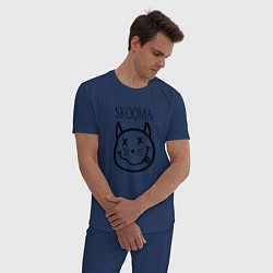 Пижама хлопковая мужская TES: Skooma цвета тёмно-синий — фото 2