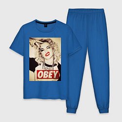 Пижама хлопковая мужская Obey girl цвета синий — фото 1