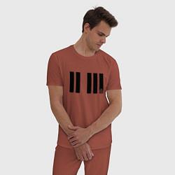 Пижама хлопковая мужская Отпечаток ноты цвета кирпичный — фото 2