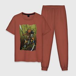 Пижама хлопковая мужская Ярость хищника цвета кирпичный — фото 1