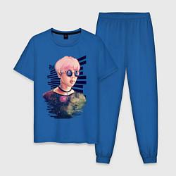 Пижама хлопковая мужская BTS RM цвета синий — фото 1