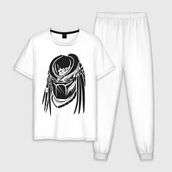 Пижама хлопковая мужская Хищник цвета белый — фото 1