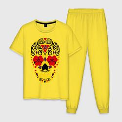 Пижама хлопковая мужская Flower Skull цвета желтый — фото 1