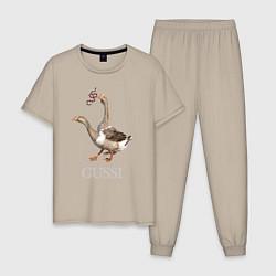 Пижама хлопковая мужская GUSSI eat GUCCI цвета миндальный — фото 1