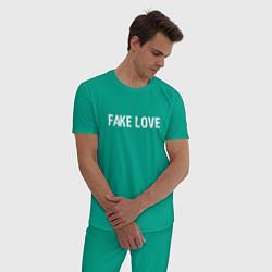 Пижама хлопковая мужская FAKE LOVE цвета зеленый — фото 2