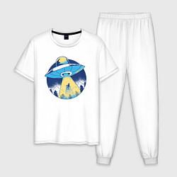 Пижама хлопковая мужская Пришельцы цвета белый — фото 1
