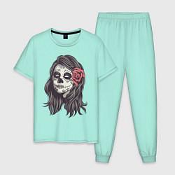 Пижама хлопковая мужская Mexican Girl цвета мятный — фото 1