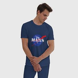 Пижама хлопковая мужская На Марс цвета тёмно-синий — фото 2