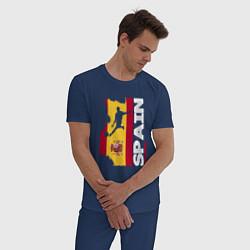 Пижама хлопковая мужская Spain Football цвета тёмно-синий — фото 2