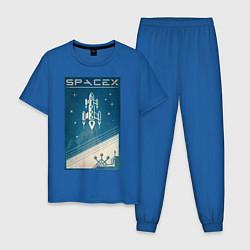 Пижама хлопковая мужская SpaceX: Space Ship цвета синий — фото 1