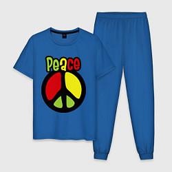 Пижама хлопковая мужская Peace tricolor цвета синий — фото 1