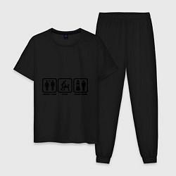 Пижама хлопковая мужская Плати, играй, конец игры цвета черный — фото 1