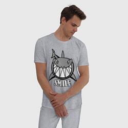 Пижама хлопковая мужская Shark Smile цвета меланж — фото 2