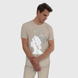 Пижама хлопковая мужская Богема цвета миндальный — фото 2