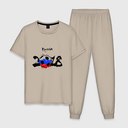 Пижама хлопковая мужская Russia цвета миндальный — фото 1